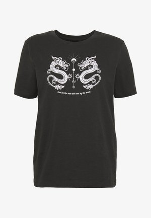 HATTIE MIRRORED DRAGONS TEE - T-shirts print - 801 - anthracite