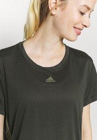 adidas Performance - 3 STRIPE TEE - Sports shirt - khaki - 5