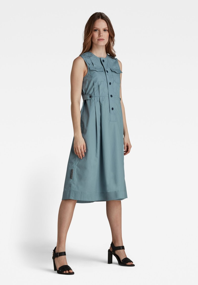 G-Star - FIT AND FLARE - Shirt dress - light bright nickel