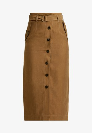 UTILITY BUTTON MIDI - Pencil skirt - olive