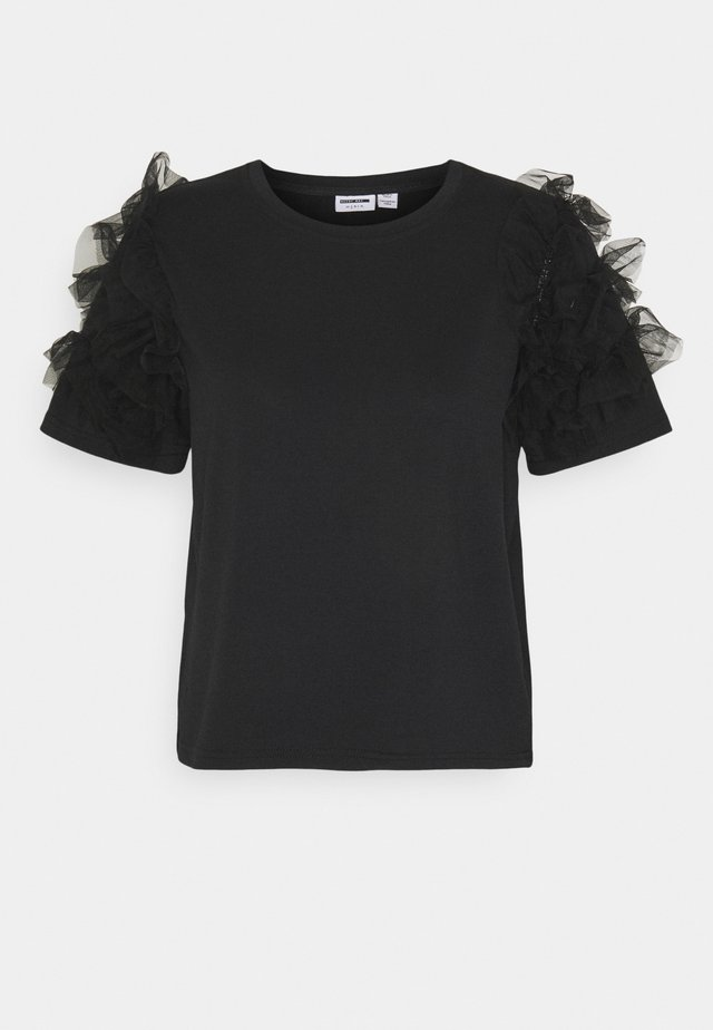 NMPUFF SEMI CROP  - T-shirt z nadrukiem - black