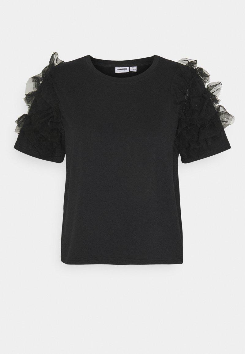 Noisy May - NMPUFF SEMI CROP  - Print T-shirt - black