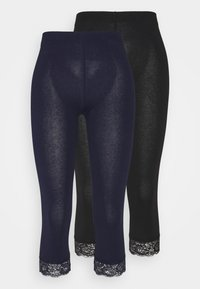 Anna Field Tall - 2 PACK - Leggings - Trousers - black/dark blue - 0