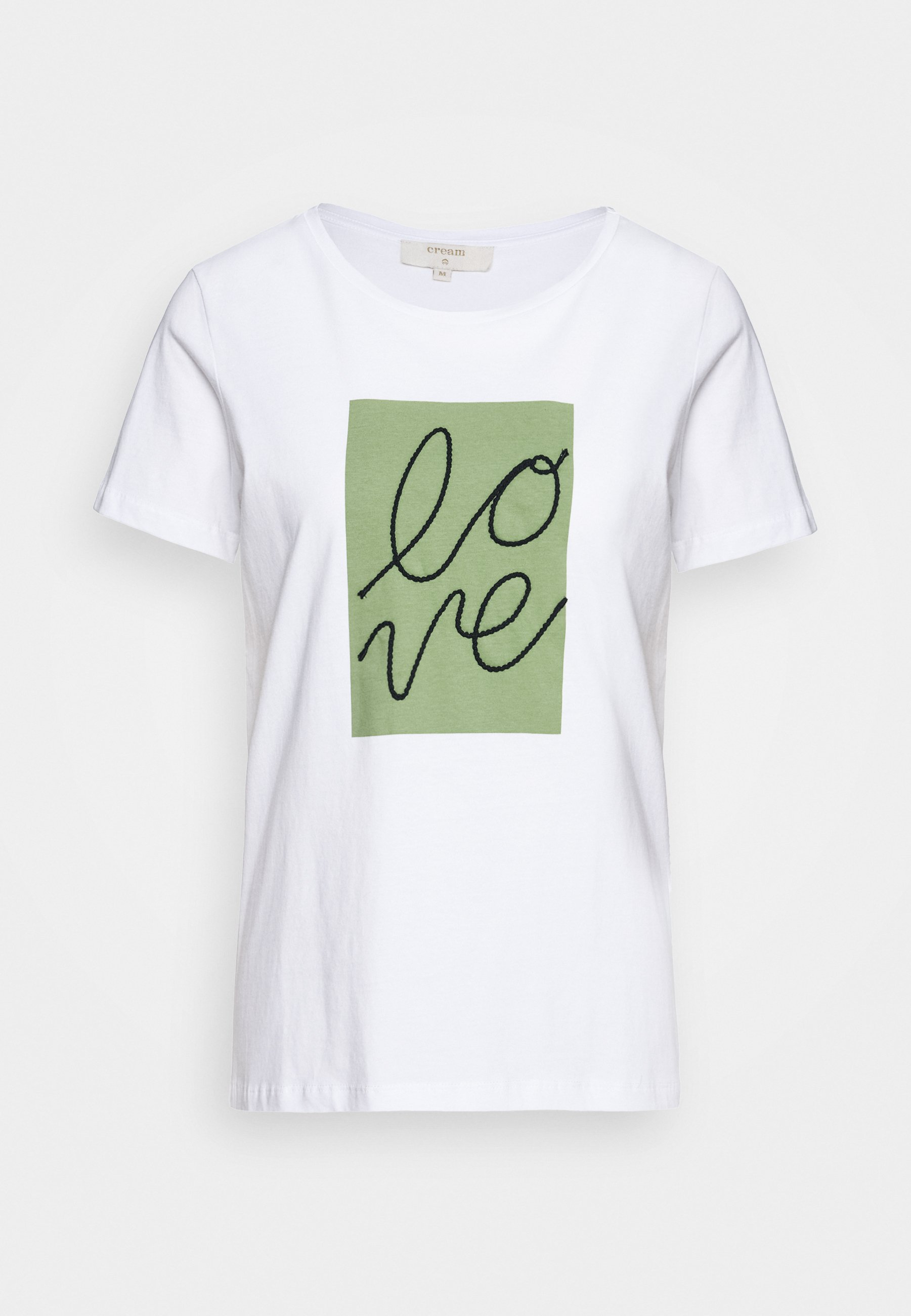 Cream Flora - T-shirts Med Print Snow White/hvit