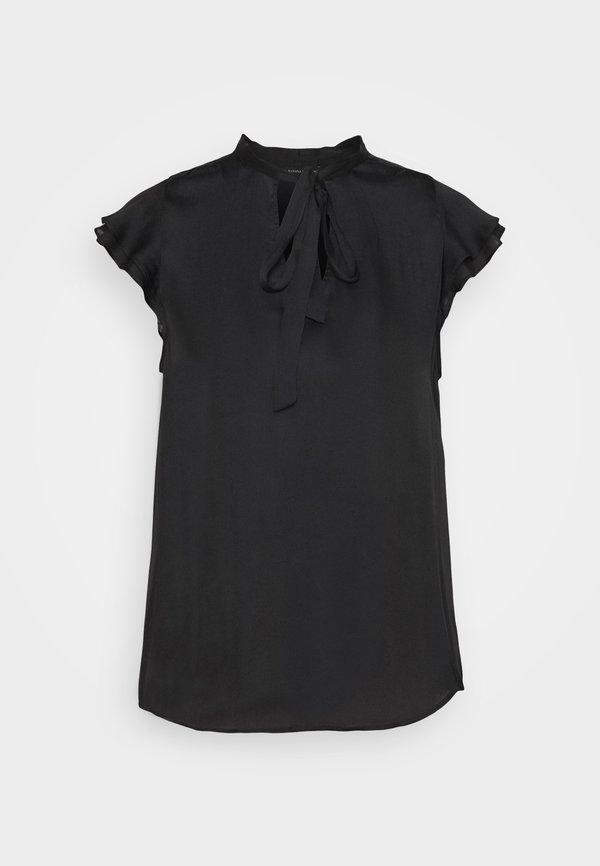 Banana Republic FLUTTER SLEEVE TIE NECK SOLIDS - T-shirt basic - black/czarny UQLM