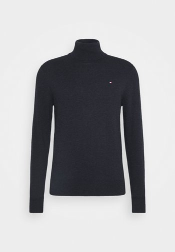PIMA ROLL NECK - Stickad tröja - black heather
