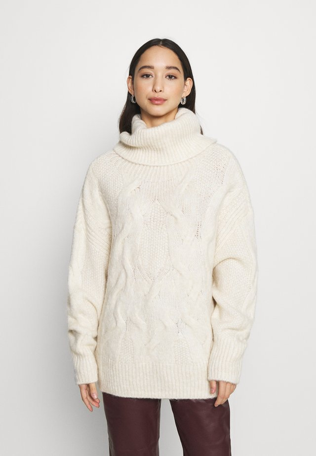 VMZEPPELIN CABLE COWLNECK BLOUSE - Neule - birch