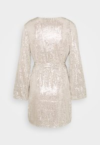 Glamorous - SEQUIN V NECK WRAP DRESS - Cocktail dress / Party dress - nude/silver - 1