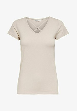 MIT KURZEN ÄRMELN TRÄGERDETAIL - Camiseta estampada - pumice stone