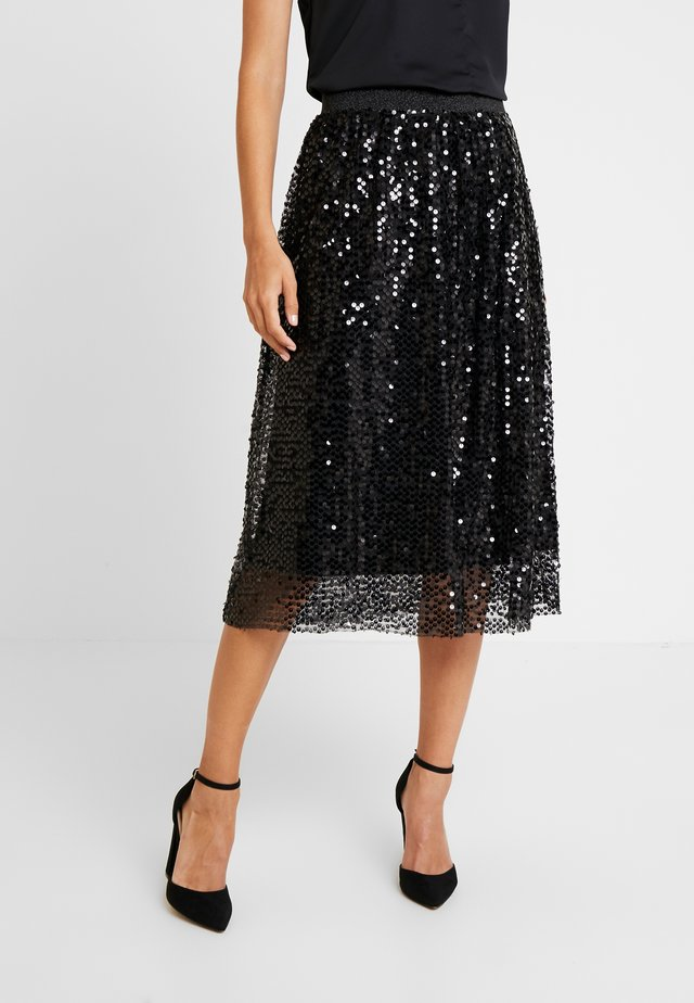 MALY SEQUINS SKIRT - Spódnica trapezowa - pitch black