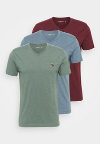 Abercrombie & Fitch - ICON 3 PACK - Basic T-shirt - burgundy/blue/green - 5
