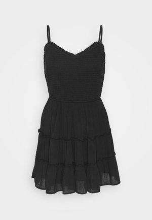 SMOCKED BODICE SHORT DRESS - Vestido informal - black