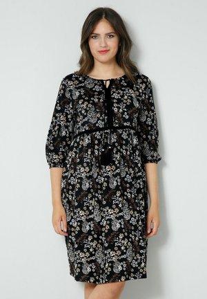 Jersey dress - schwarz taupe