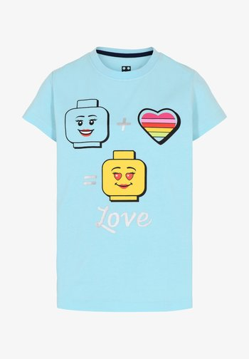 Print T-shirt - light turquise