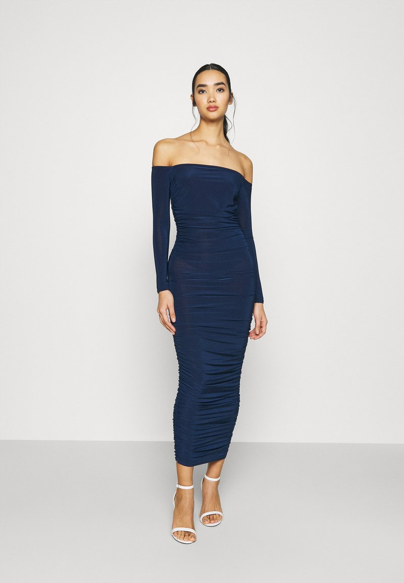 Missguided - BARDOT SLINKY RUCHED MIDAXI DRESS - Jersey dress - navy