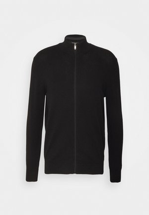 FINE GAUGE ZIP THROUGH - Cardigan - black