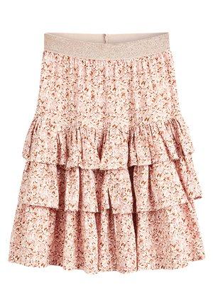 PINK METALLIC WAISTBAND FLORAL SKIRT (3-16YRS) - A-line skirt - pink