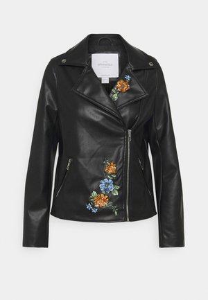 GYM BIKER BORDADA - Imitatieleren jas - black