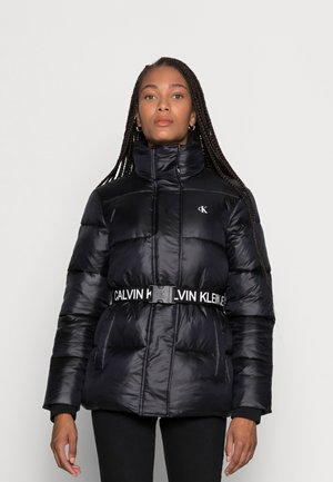 LOGO BELT WAISTED SHORT PUFFER - Zimní bunda -  black