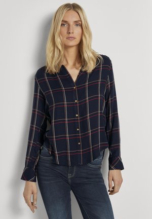 Button-down blouse - navy grid check