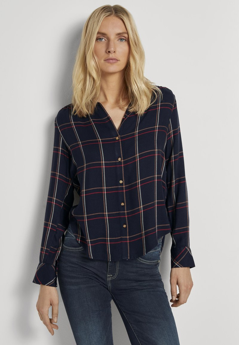 TOM TAILOR - Button-down blouse - navy grid check