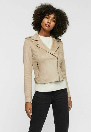 VMBOOSTBIKER SHORT JACKET - Faux leather jacket - silver mink