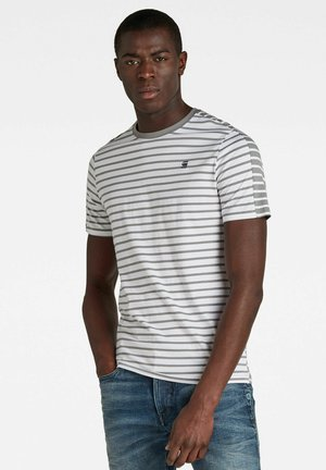 Print T-shirt - white/charcoal stripe
