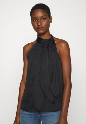 TIE NECK HALTER - Blouse - black