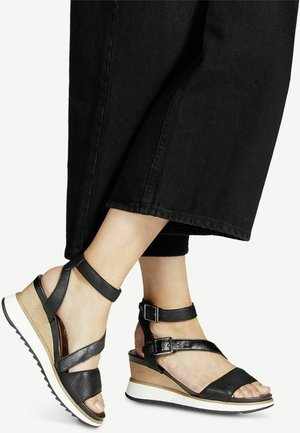Wedge sandals - black/pewter