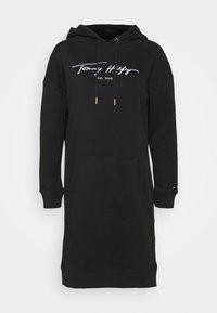 Tommy Hilfiger - SCRIPT HOODIE DRESS - Day dress - black - 4
