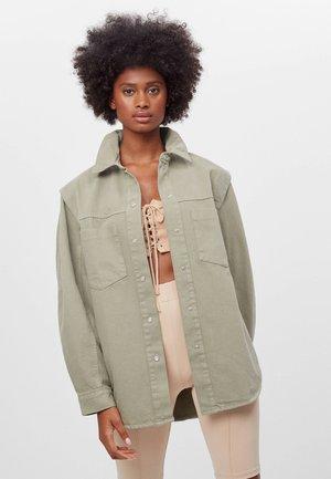 MIT ACID-WASH  - Džínová bunda - khaki