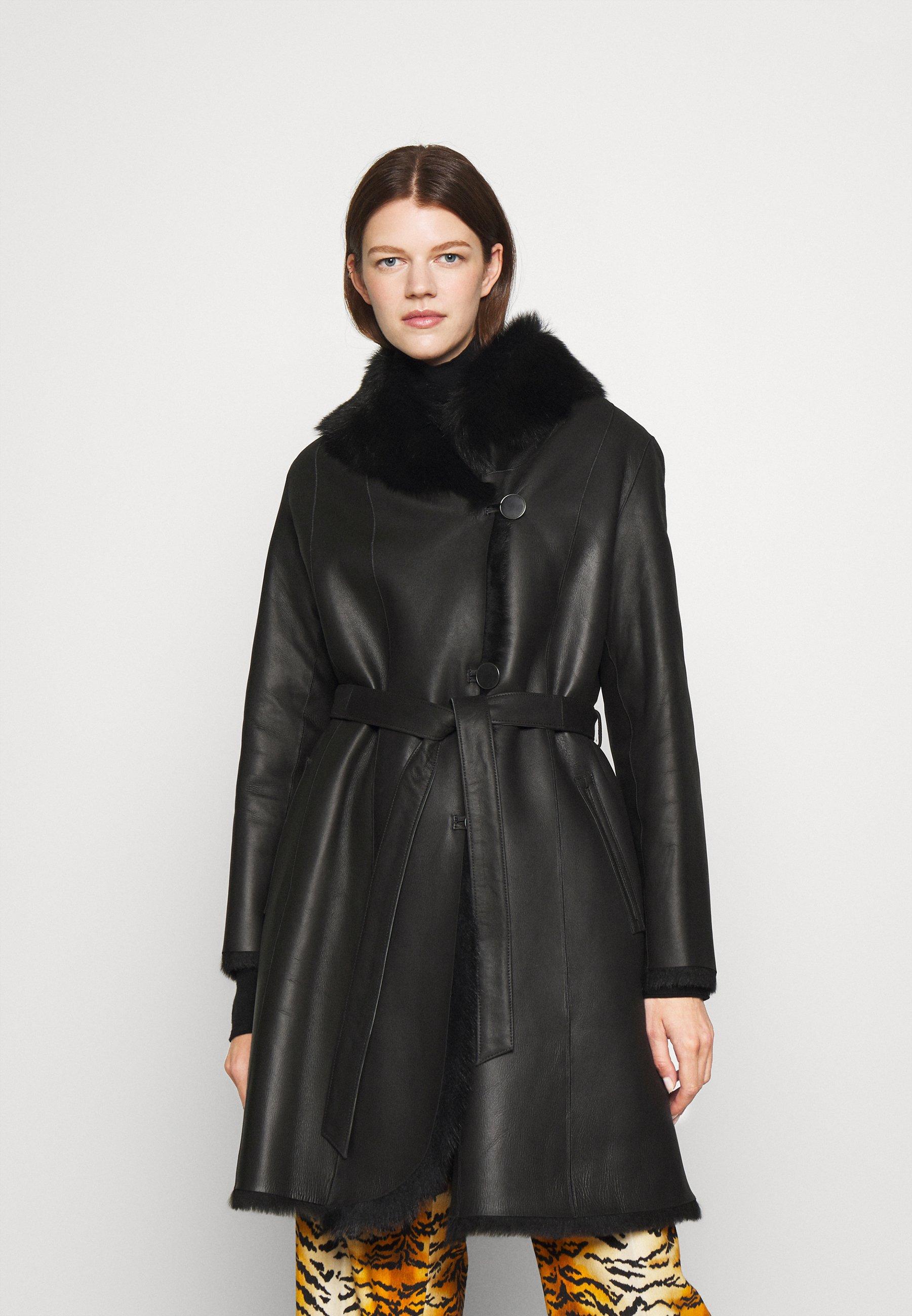 Damen GENEVA LONG BELTED COAT  - Lederjacke