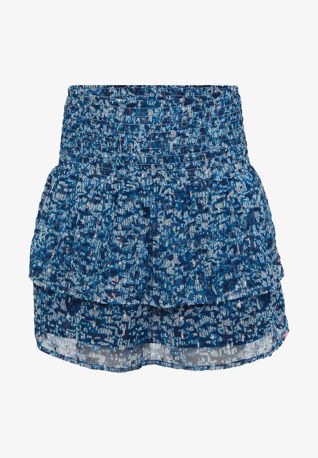 WE FASHION MÄDCHENROCK MIT MUSTER UND GLITZER-DETAILS - A-line skirt - dark blue