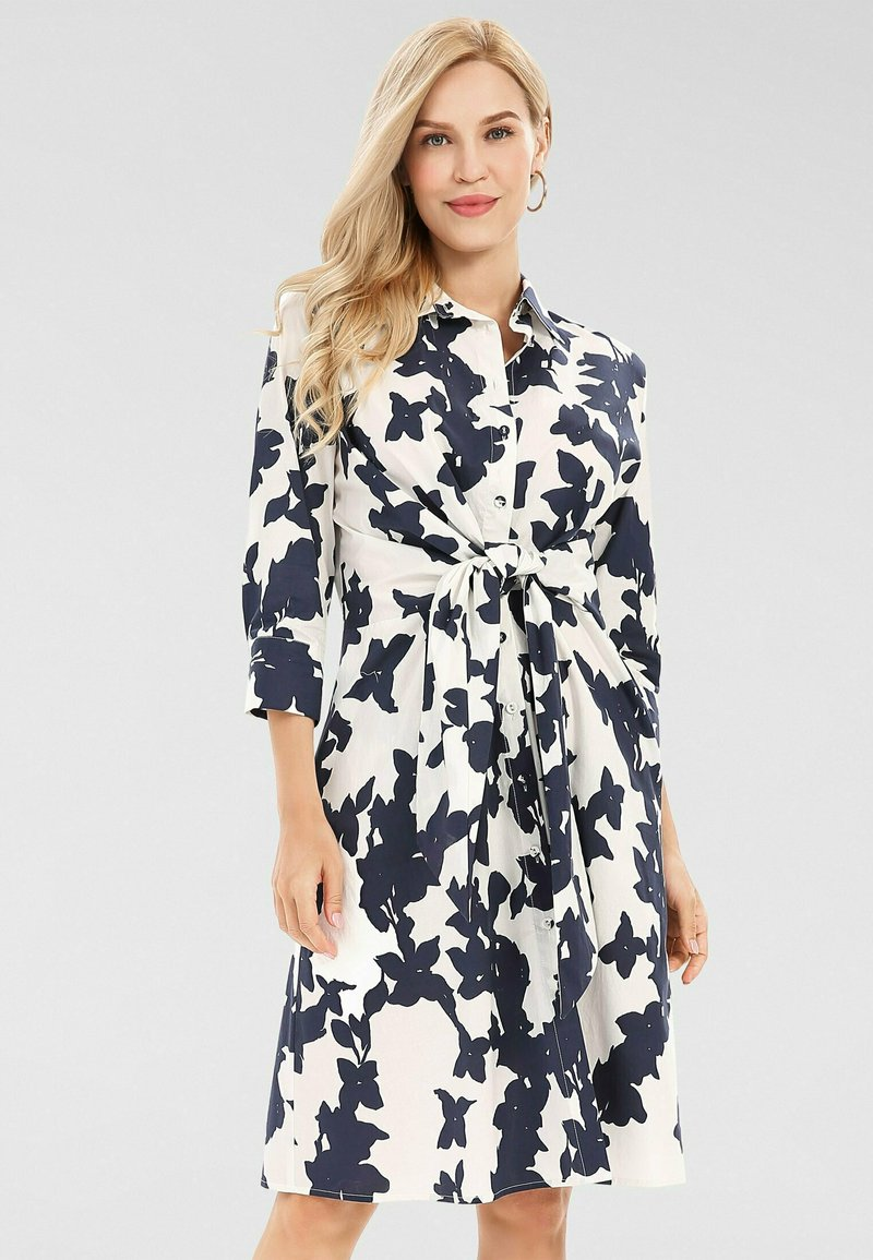 Apart - Robe chemise - creme/ nachtblau