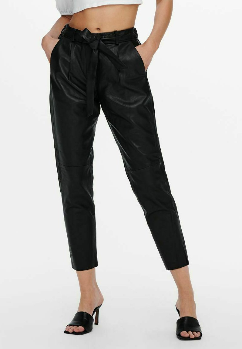ONLY - Leather trousers - black