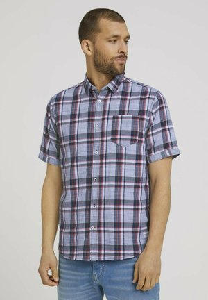 Shirt - navy red structure check