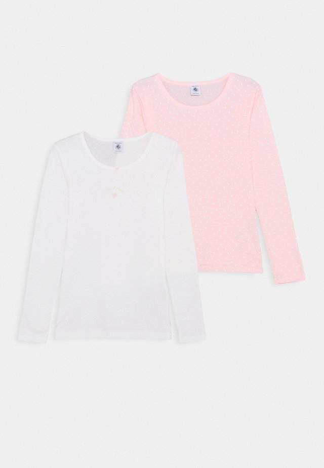 2 PACK - Long sleeved top - pink/white