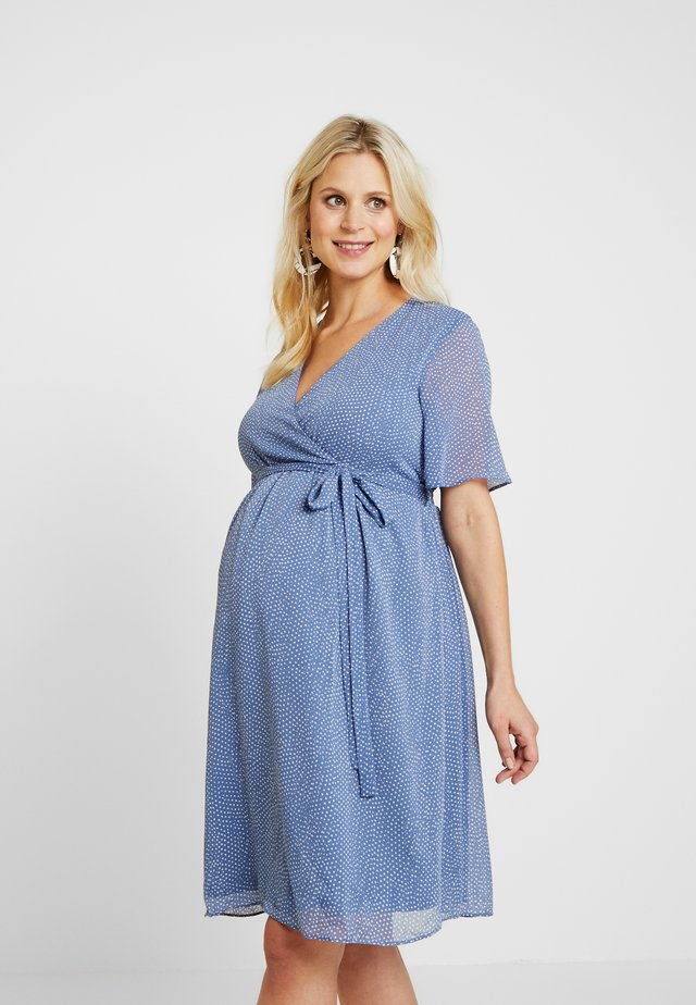 PIN SPOT WRAP DRESS - Korte jurk - blue