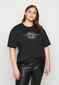 Vero Moda Curve - VMGALINA LONG BOX  - T-shirts med print - black - 0