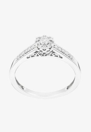 WHITE GOLD RING 9K CERTIFIED 22 DIAMONDS HSI - Ring - silver
