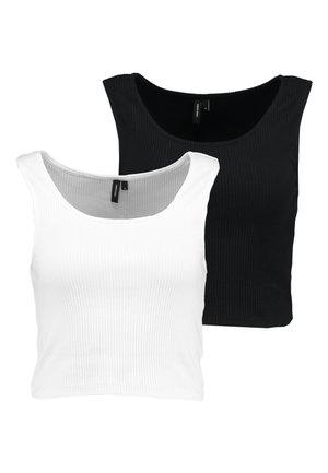 VMAVA CROPPED TANK 2 PACK - Débardeur - black/white