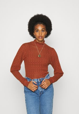 PUFF SLEEVE - Strikkegenser - terracotta