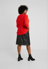 Lost Ink Plus - SKIRT WITH POCKETS - A-line skirt - black - 2