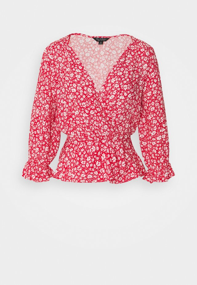 RED DITSY SHIRRED WRAP BLOUSE - Bluzka - red