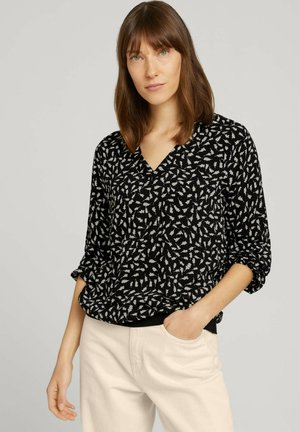 BLOUSE WITH TAPE DETAILS - Long sleeved top - black