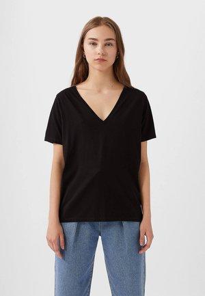 MIT V-AUSSCHNITT  - Jednoduché triko - black