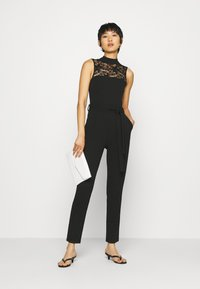 Anna Field - OCCASION - SLEEVELESS BELTED LACE NECKLINE JUMPSUIT - Jumpsuit - black - 1