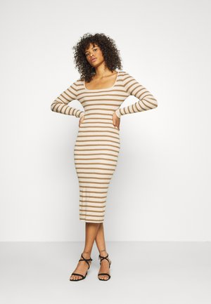 TALL STRIPE RIBBED LONG SLEEVE DRESS - Shift dress - brown
