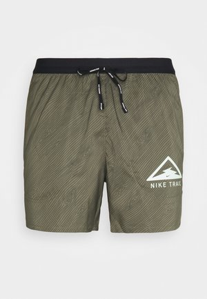 STRIDE TRAIL - Pantalón corto de deporte - medium khaki/black/barely volt