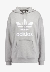 adidas Originals - ADICOLOR TREFOIL HODDIE SWEAT - Jersey con capucha - medium grey heather/white - 4